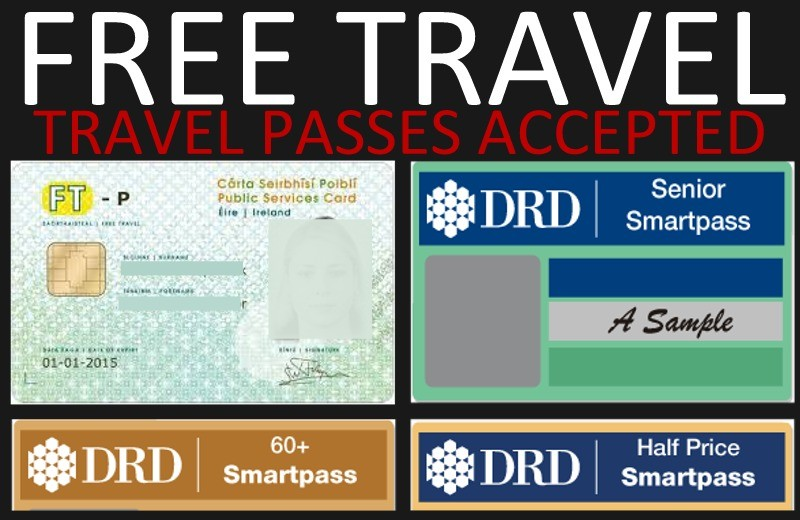 Free Travel Passes Accepted - Republic of Ireland and Northern Ireland travel passes  accepted by Patrick Gallagher Coaches, Donegal - Belfast bus service