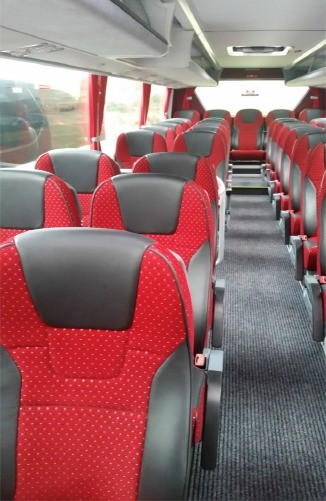 New coach range with  53 reclining seats - inside view - Patrick Gallagher Coaches - coach hire Ulster, County Donegal and Northern Ireland
